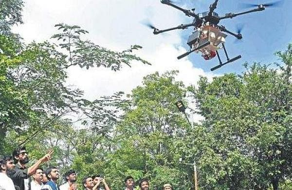 A 'seedcopter' by Marut Drones at 'Hara Bahara', India's first aerial seeding campaign at Hyderabad's KBR park