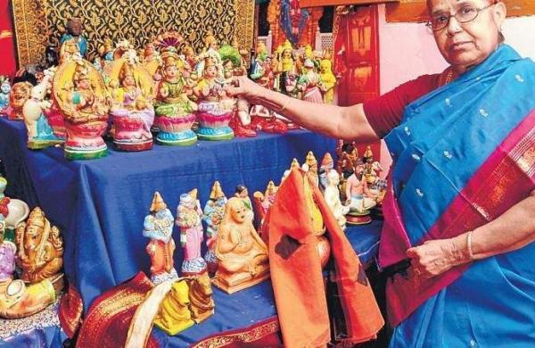 Vimala Ganesan with her golu dolls | M Muthu Kannan
