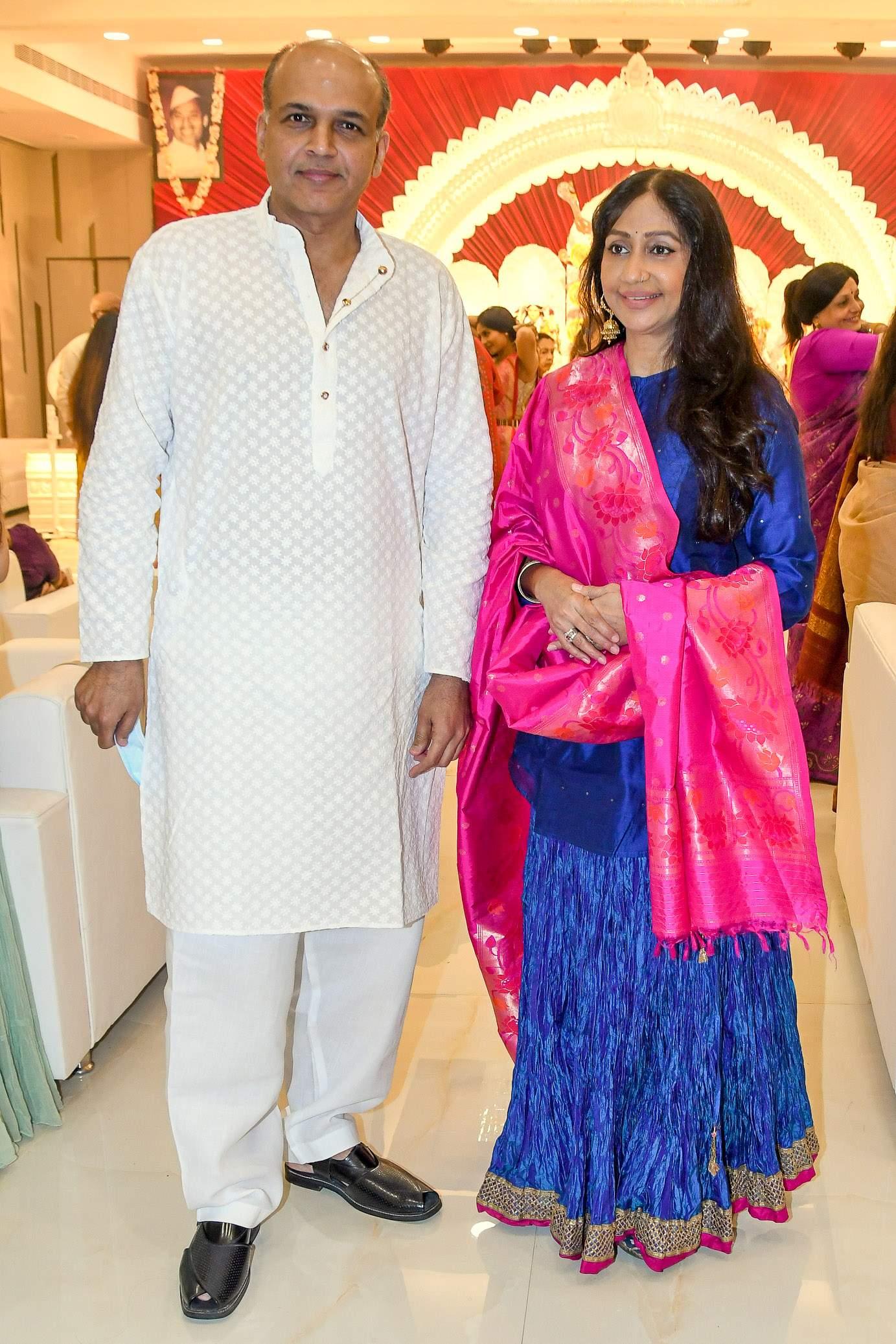 Ashutosh Gowariker with wife Sunita during Durga Puja