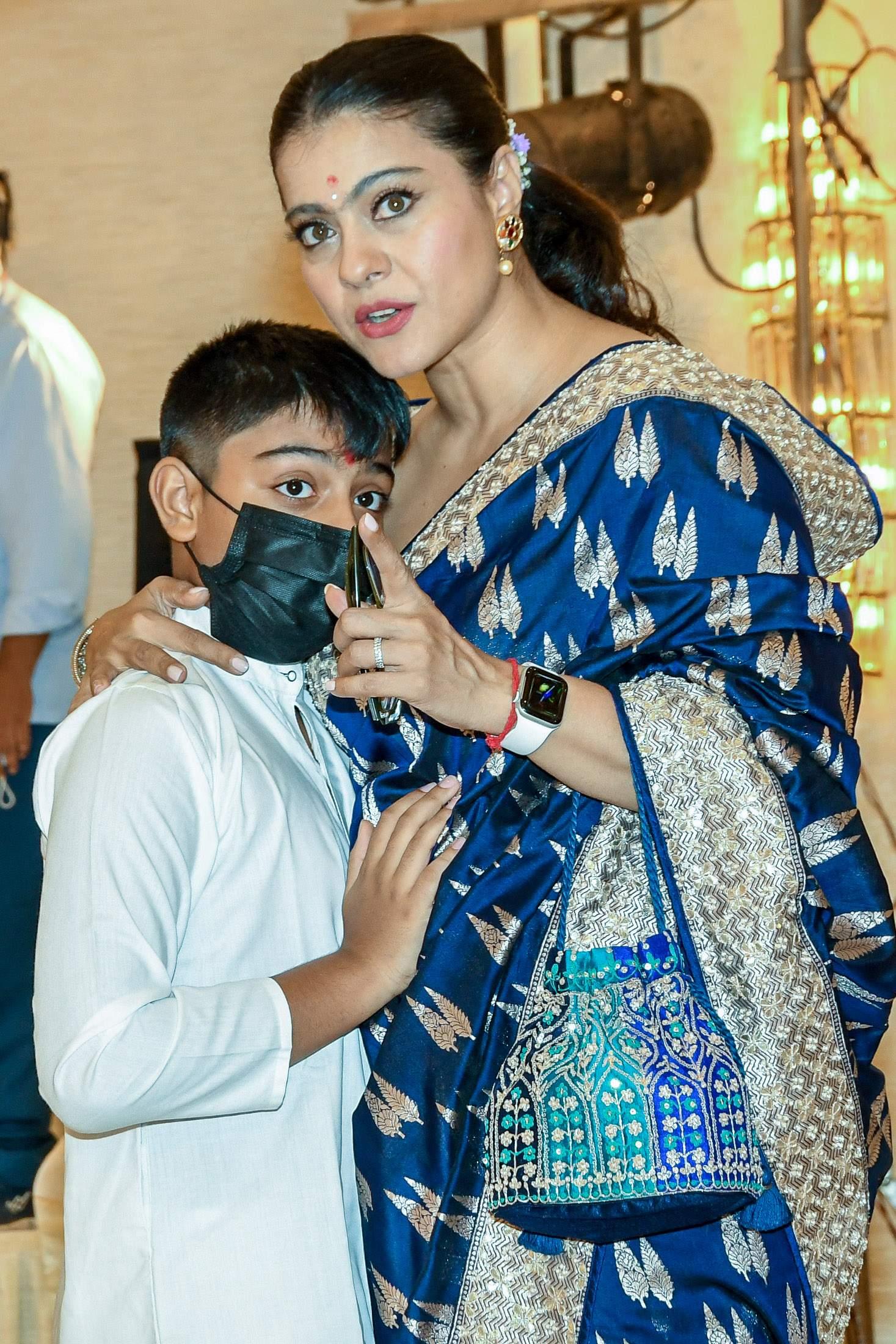 Kajol with her son Yug during Durga Puja
