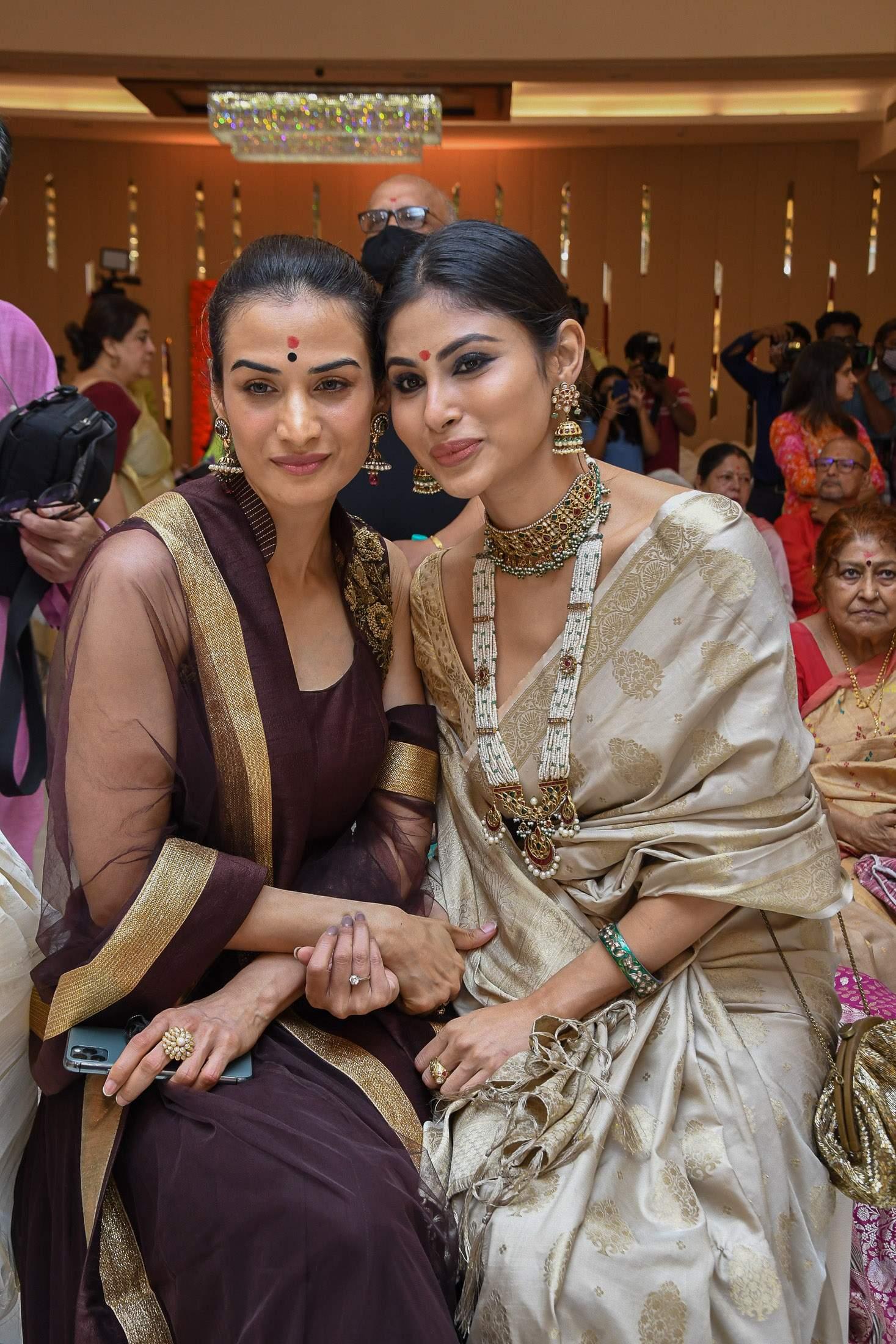 Karishma Modi with Mouni Roy during Durga Puja celebration