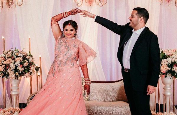 Vidyullekha Raman with her newly-wed husband Sanjay