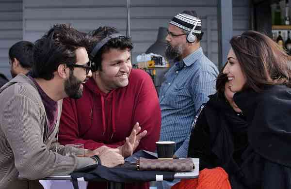 Taranveer Singh (in red) with the lead actors