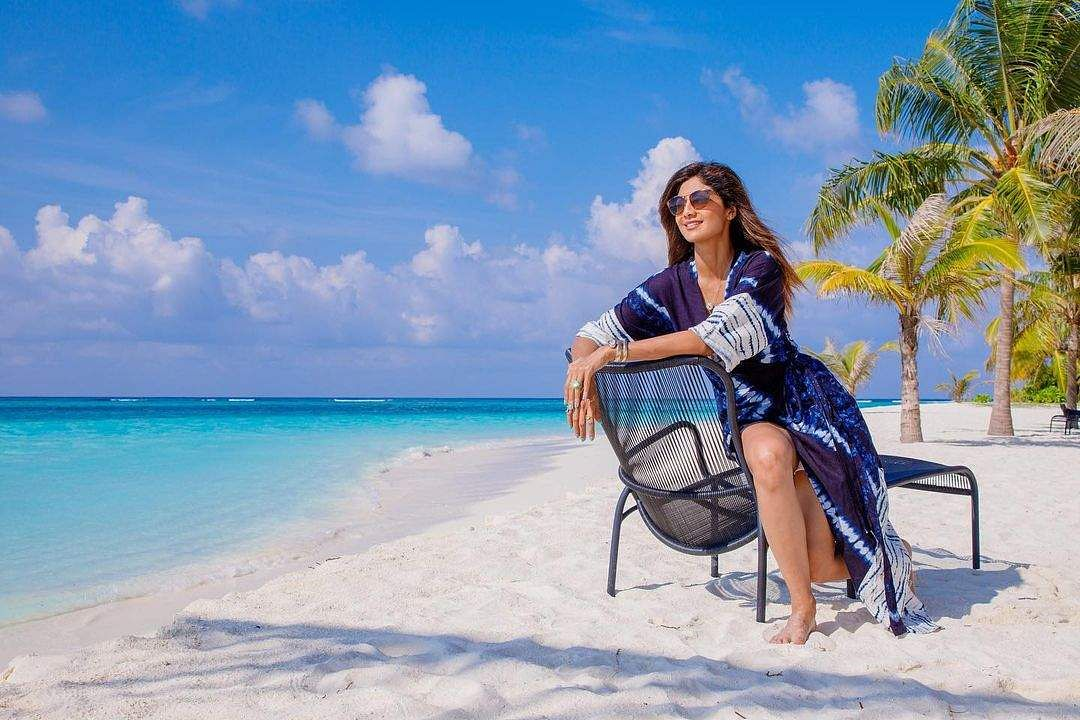 Shilpa soaks in the sun on the beach