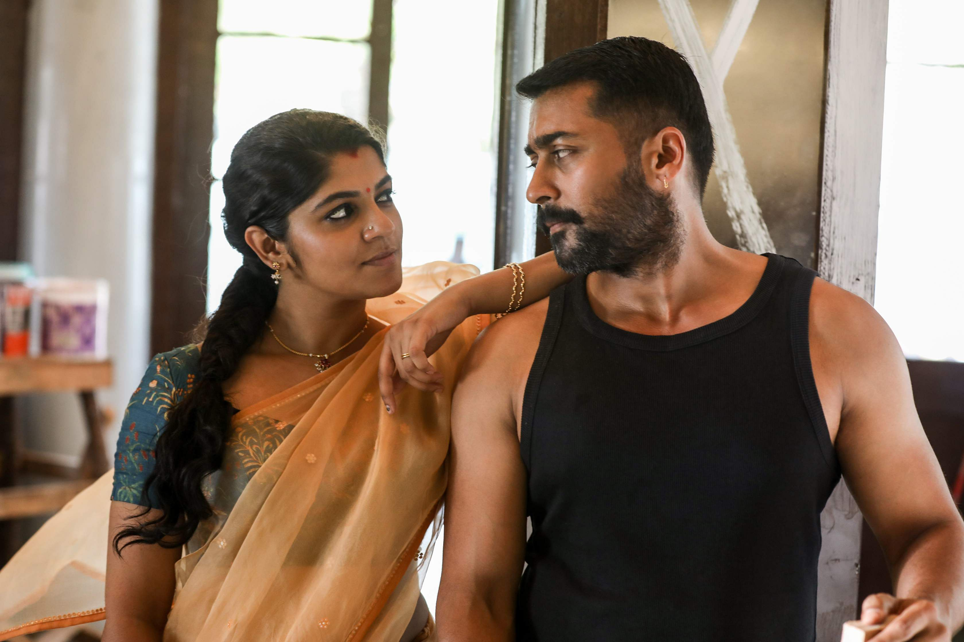 A still from Soorarai Pottru starring Suriya and Aparna Balamurali