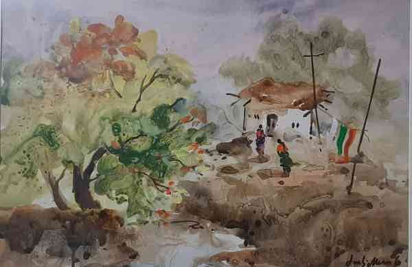 A landscape painting by JMS Mani