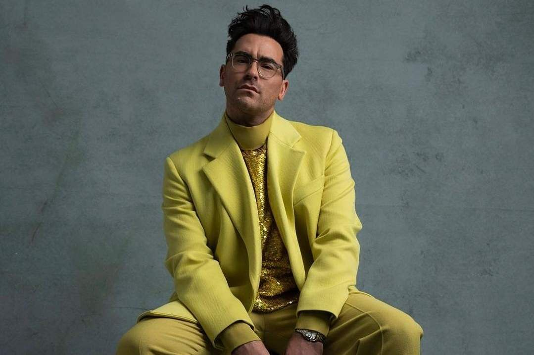 Dan Levy in Valentino couture