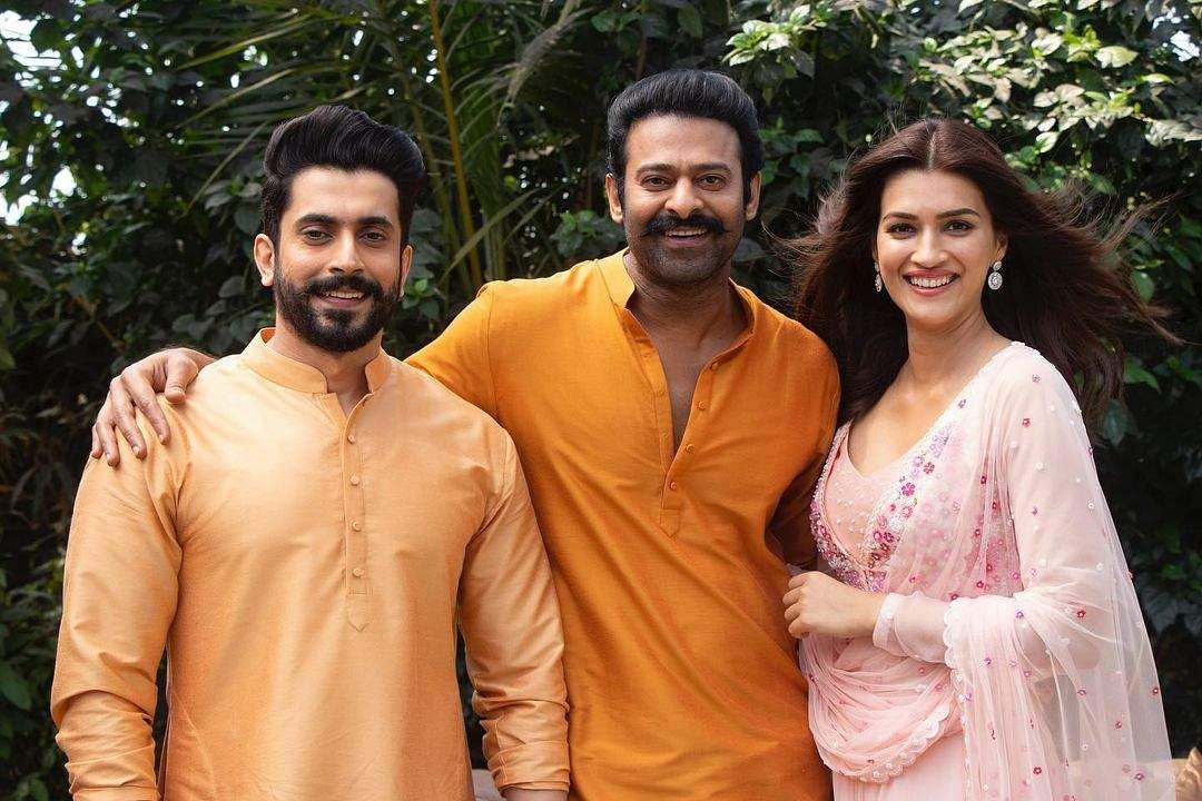 Prabhas with Sunny Singh (left) and Kriti Sanon (right)