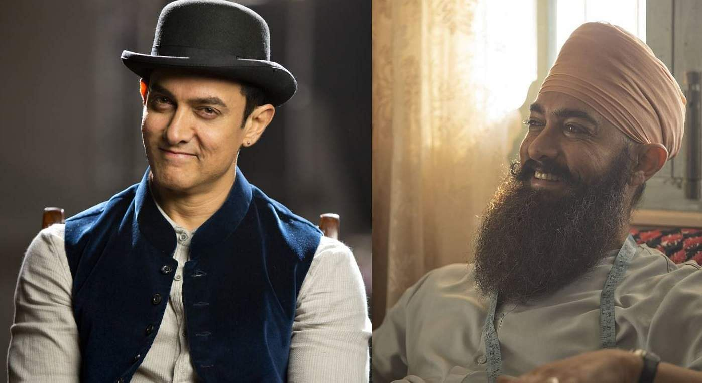Aamir Khan (left) and a still from Laal Singh Chadda
