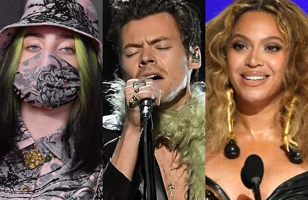 Billie Eilish (left), Harry Styles (centre), and Beyoncé (right) at the Grammys