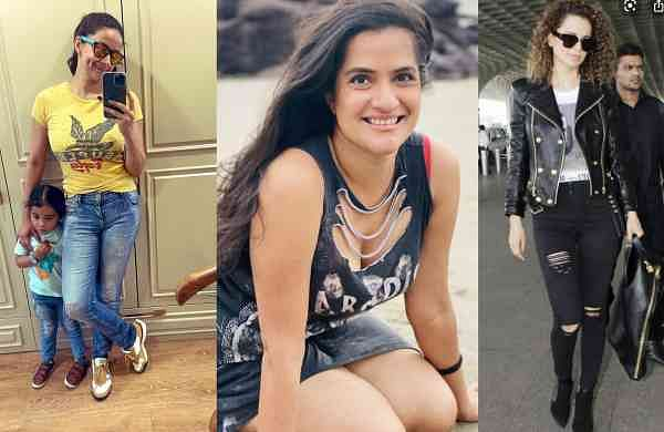 Gul Panag, Sona Mohapatra and Kangana Ranaut posted their images wearing ripped clothes and jeans