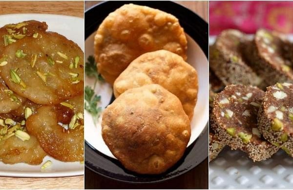 Apple Jalebi (left), Matar Khasta Roll (centre), Khajur Barfi (right)