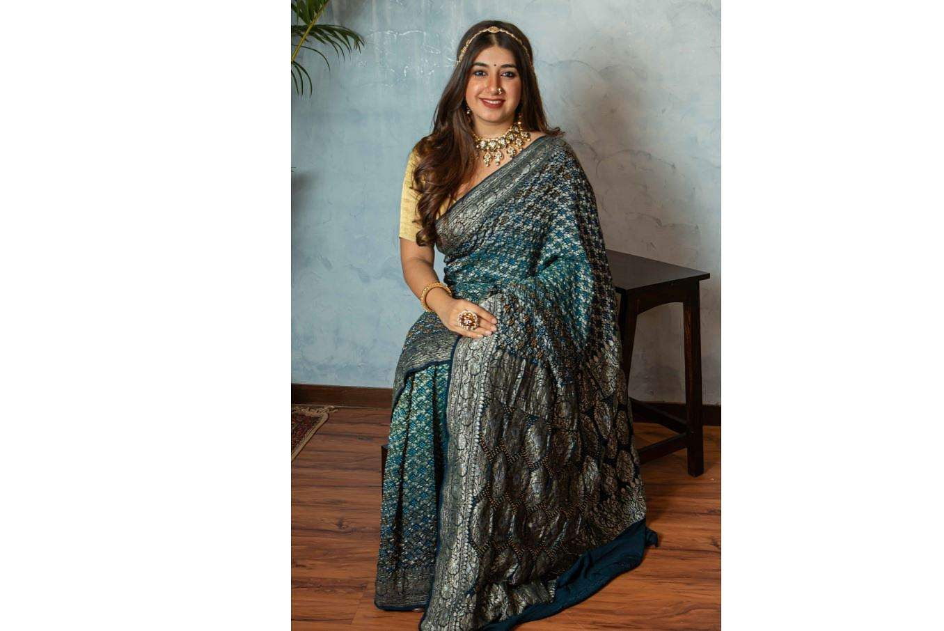 Lekhinee Desai in a sari from their latest collection