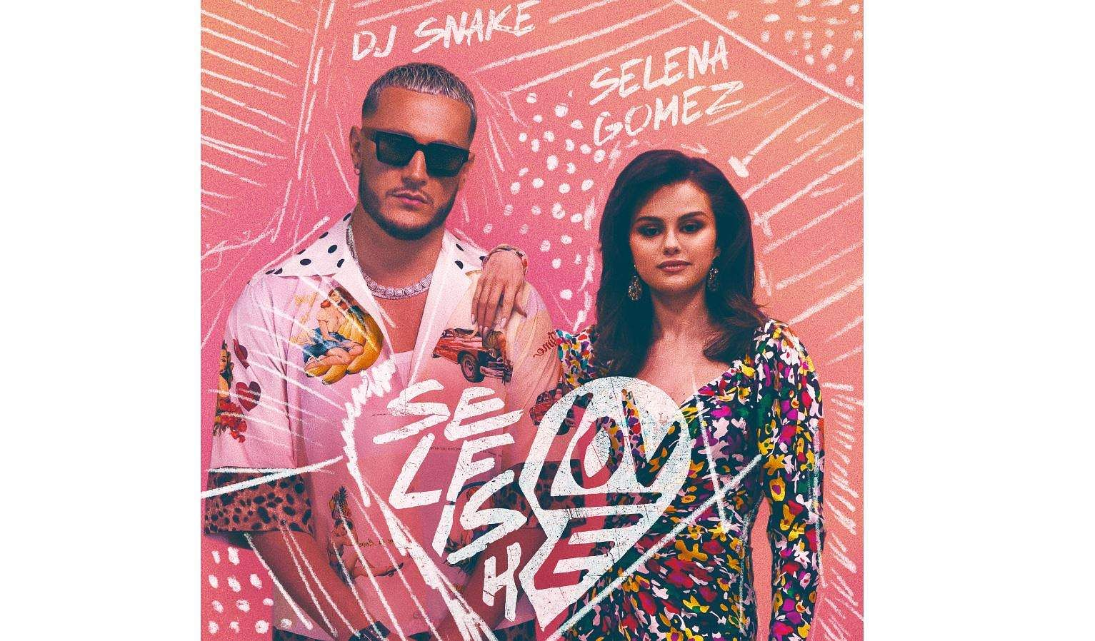 DJ Snake and Selena Gomez on the song poster of Selfish Love