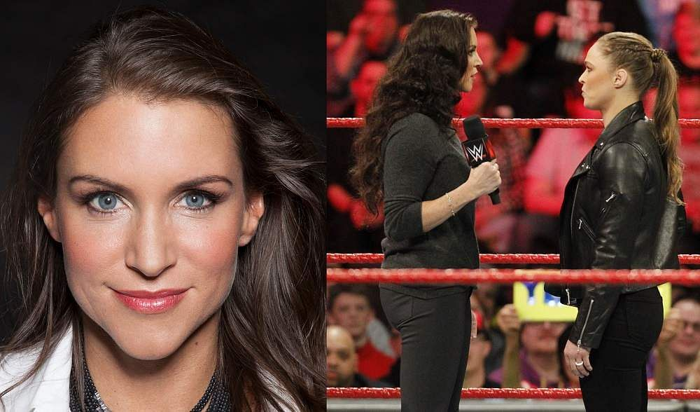Stephanie McMahon (left) and a picture from WrestleMania 34