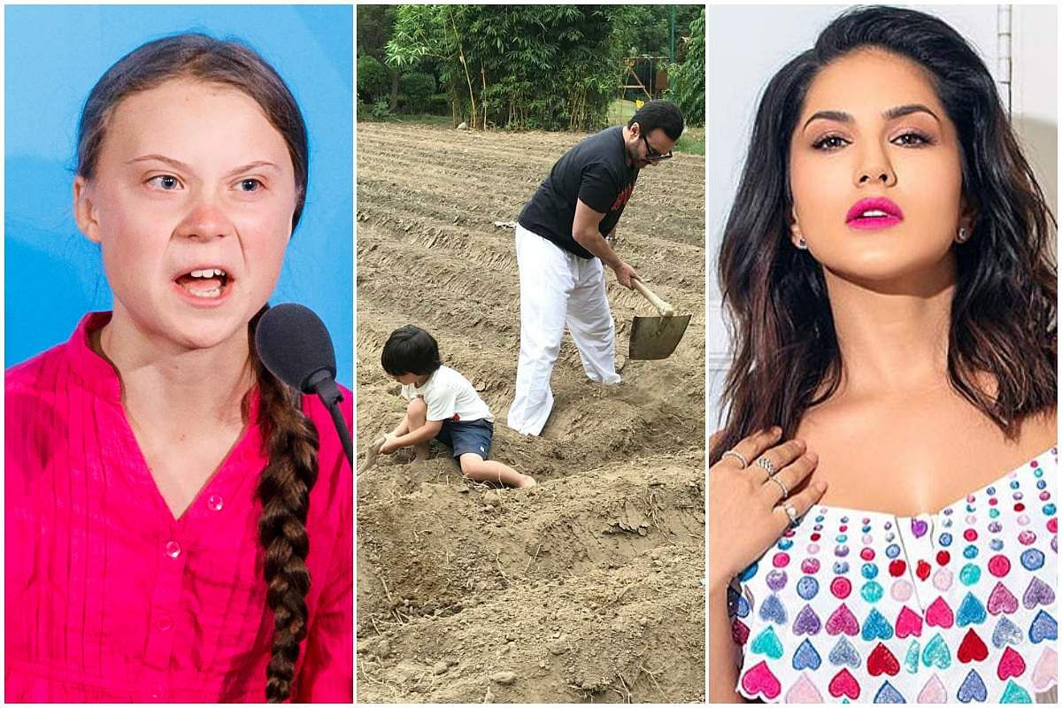 Greta Thunberg (left), Tamiur and Saif Ali Khan (centre), and Sunny Leone (right)
