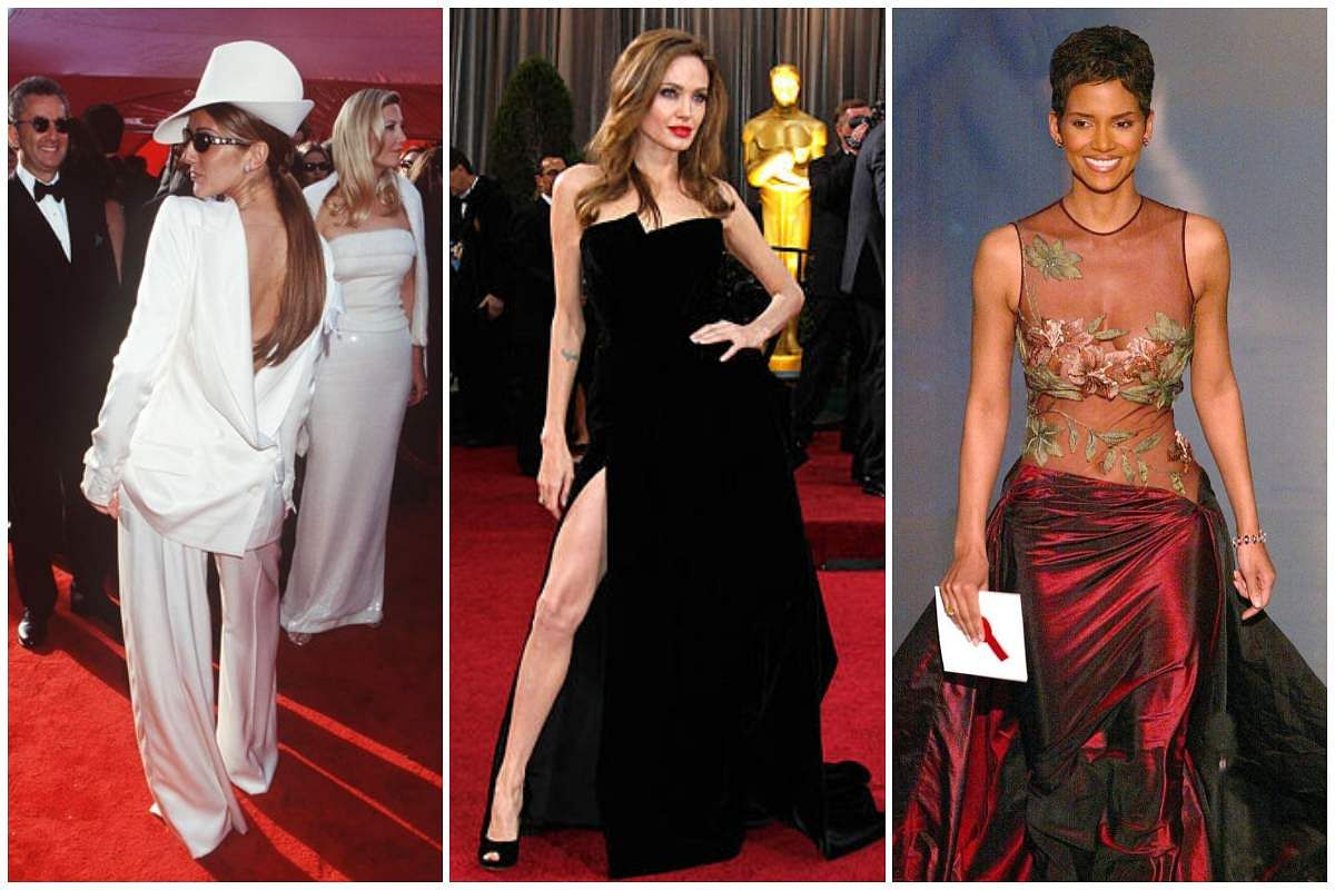 Oscar outfits by Celine Dion (left), Angelina Jolie (centre), and Halle Berry (right)