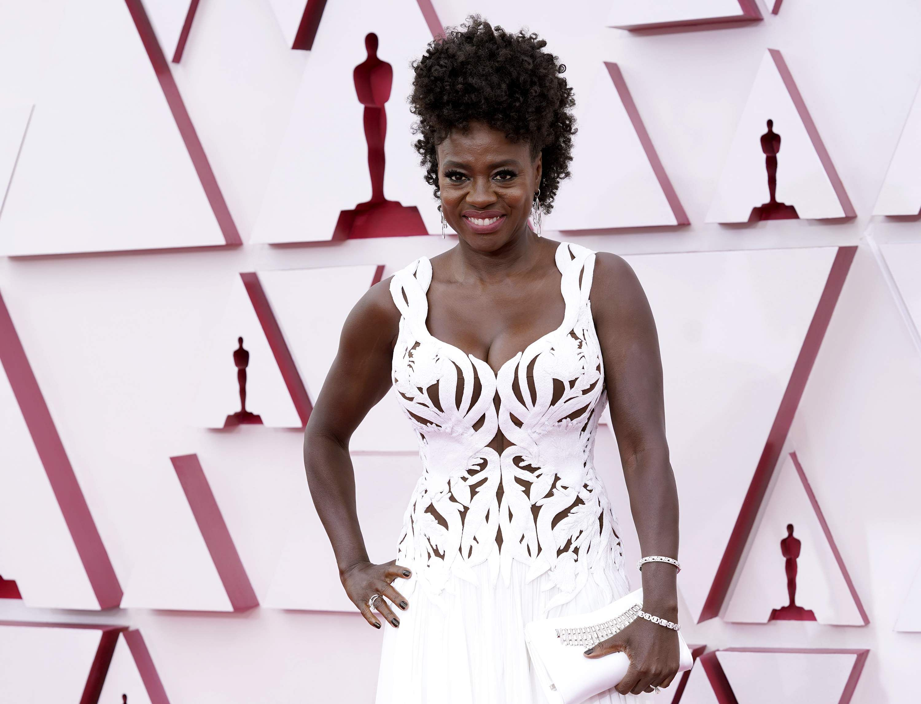 Viola Davis in jaw-dropping  Alexander McQueen dress that floored everyone.Picture: AP