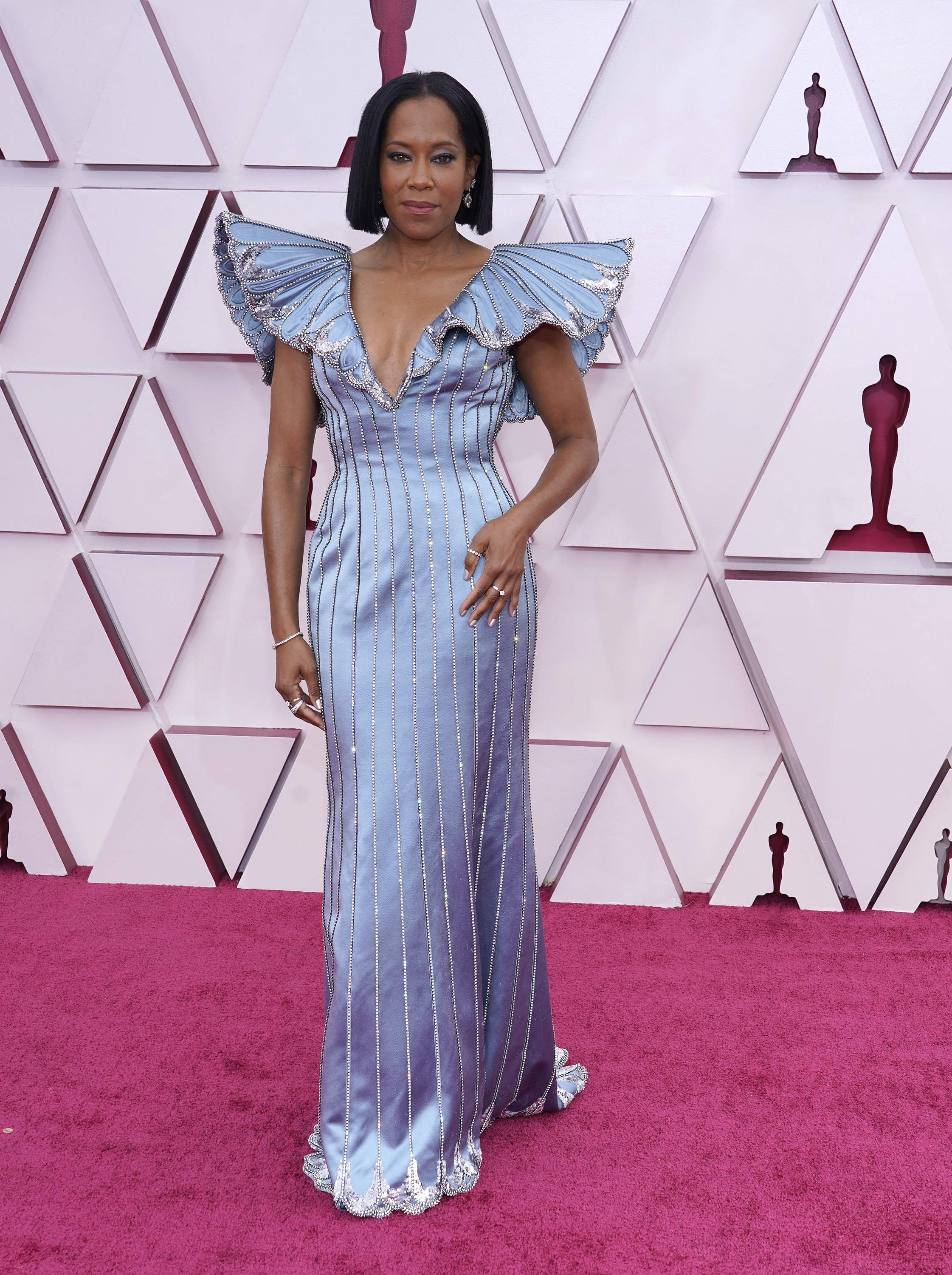 Regina King looked gorgeous in custom Louis Vuitton. Picture: AP