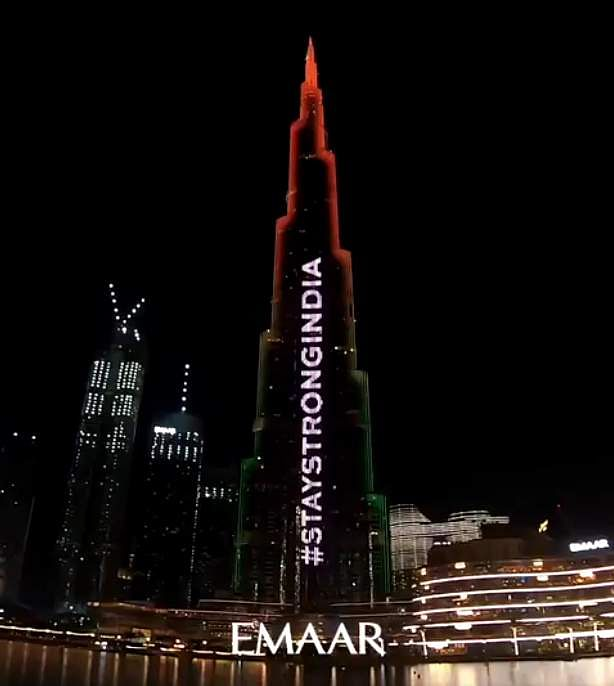 Burj Khalifa in Dubai displays the message, 'Stay strong India.'