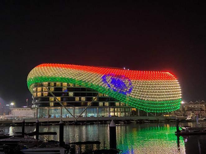 Yas Island at Abu Dubai displays the Indian flag on its grid shell light canopy