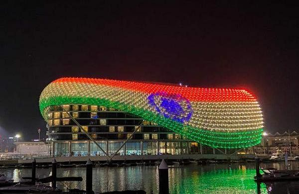 Yas Island at Abu Dubai displays the Indian flag on its grid shell light canopy