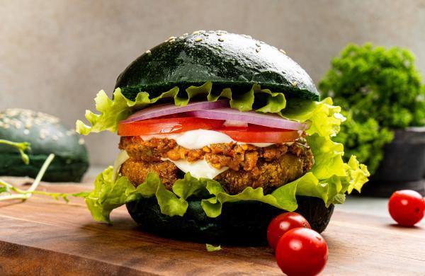 Charcoal Bhaji Burger