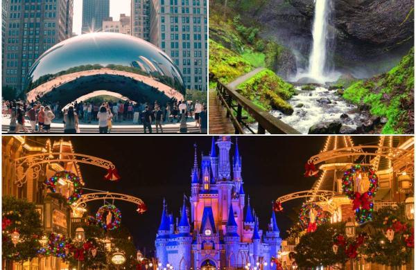 Chicago's Cloud Gate (top left), Portland's Latourell Falls (top right), and Walt Disney World Resort at Orlando (bottom)
