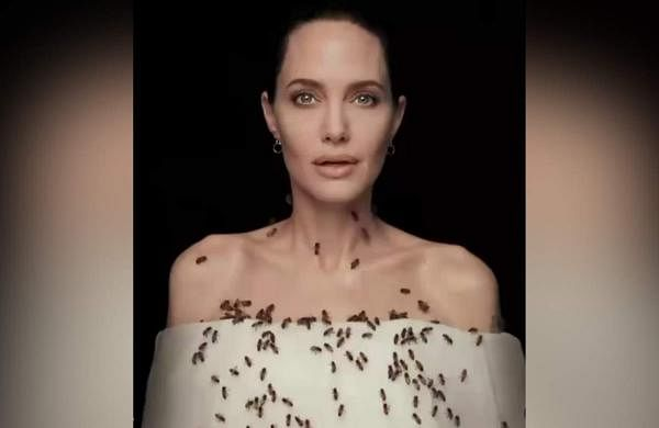 Angelina Jolie during a shoot for bee conservation