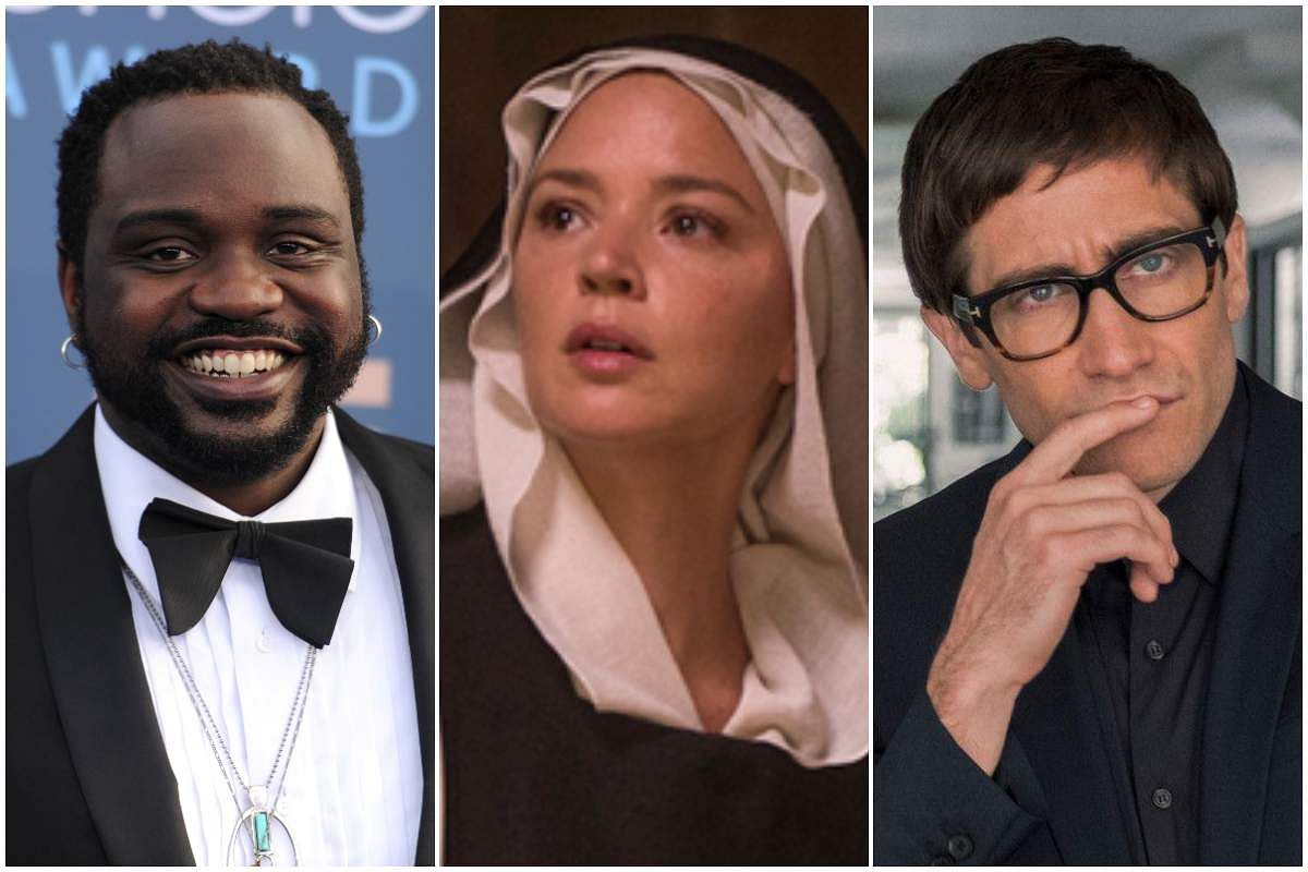 Brian Tyree Henry from Eternals (left), Virginie Efira from Benedetta (centre), and Jake Gyllenhaal from Velvet Buzzsaw (right)