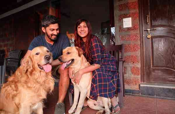 Tanveer and Priyanka with their dogs