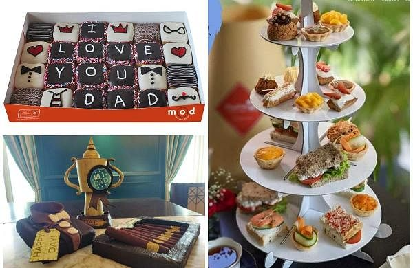 Father's Day special: Personalised doughnuts (top left), edible 'No. 1 Dad' trophies (bottom left), and a special menu for a Father's Day high tea (right)
