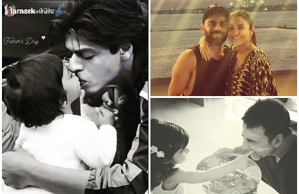 Father's Day: Shah Rukh Khan with his daughter (left), Virat Kohli and Anushka Sharma (top right), and Akshay Kumar with his daughter (bottom right)