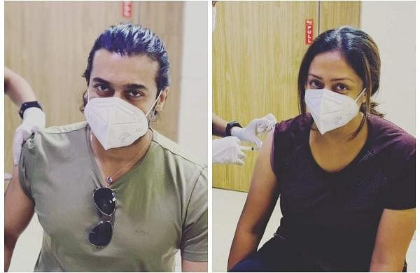 Suriya and Jyothika get their first dose of the COVID-19 vaccine