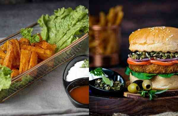 Carrot Fries and Veggies Overloaded Burger