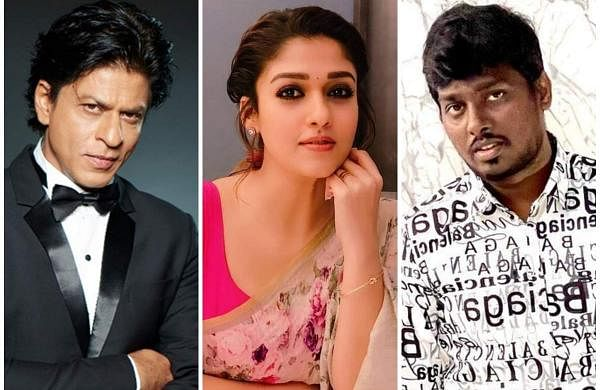 Shah Rukh Khan (left), Nayanthara (centre), and Atlee (right)