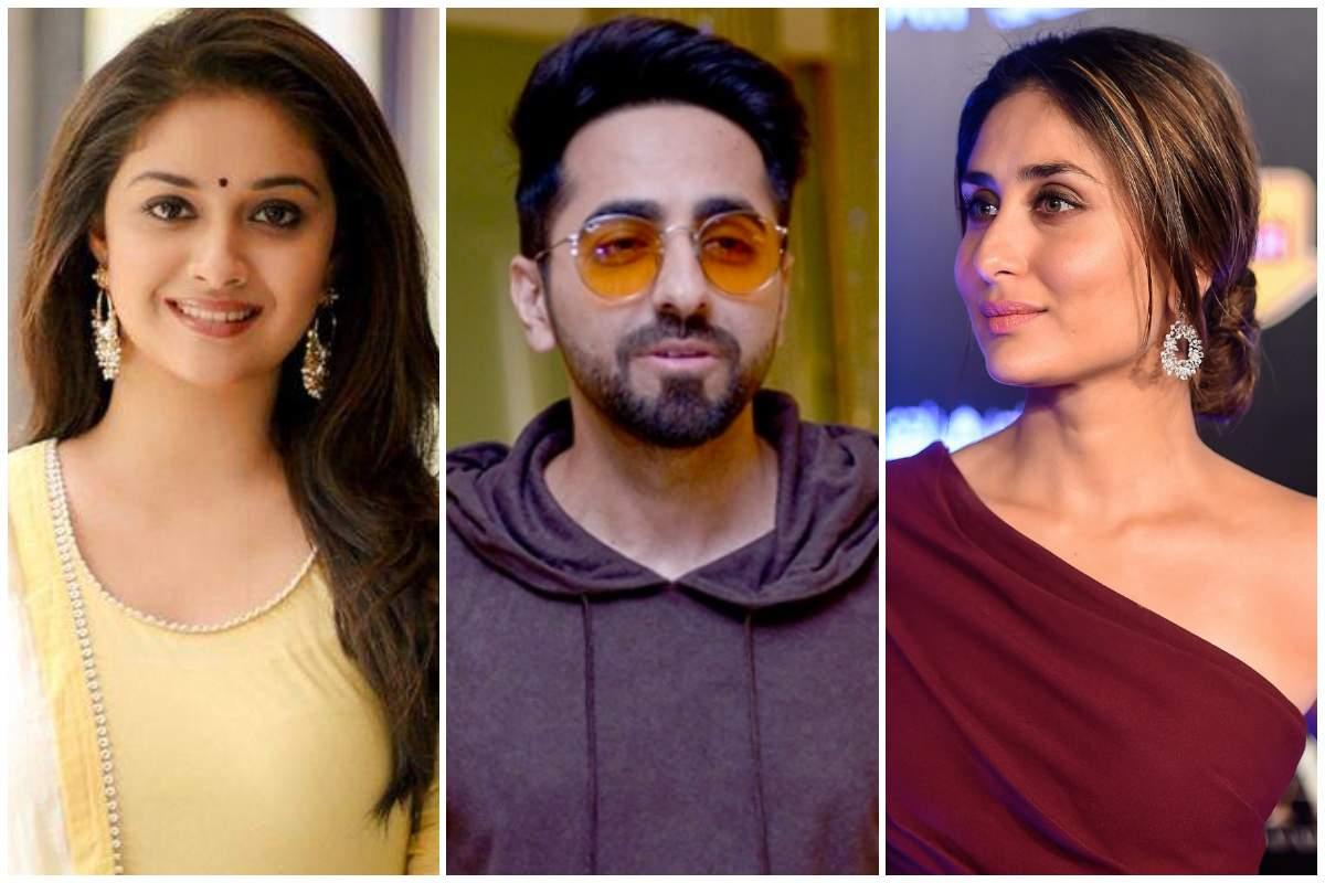 Keerthy Suresh (left), Ayushmann Khurrana (centre), and Kareena Kapoor Khan (right)