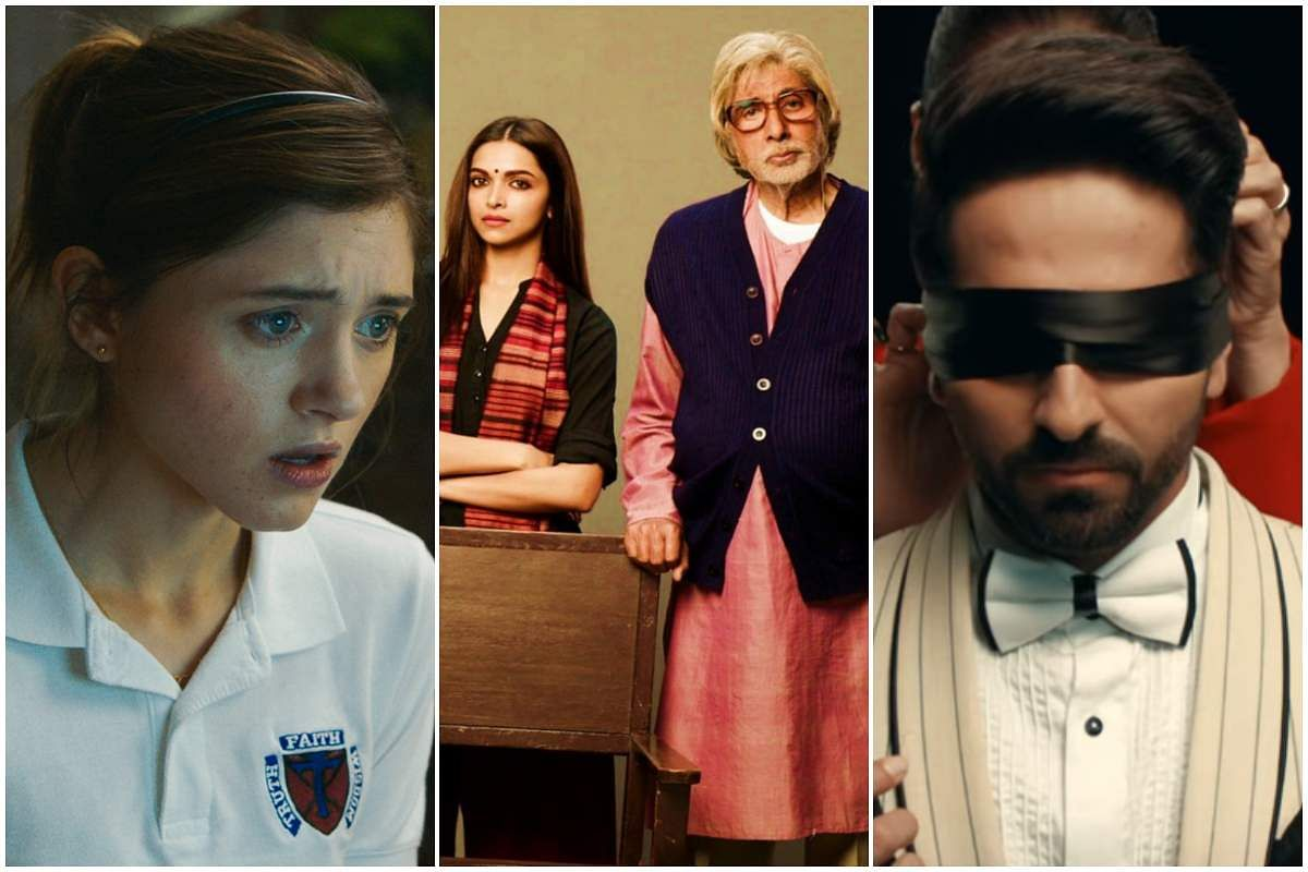 Stills from Yes, God, Yes (left), Piku (centre), and Andhadhun (right)