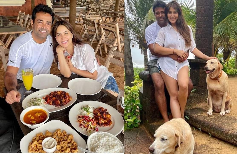Kim Sharma and Leander Paes in Goa
