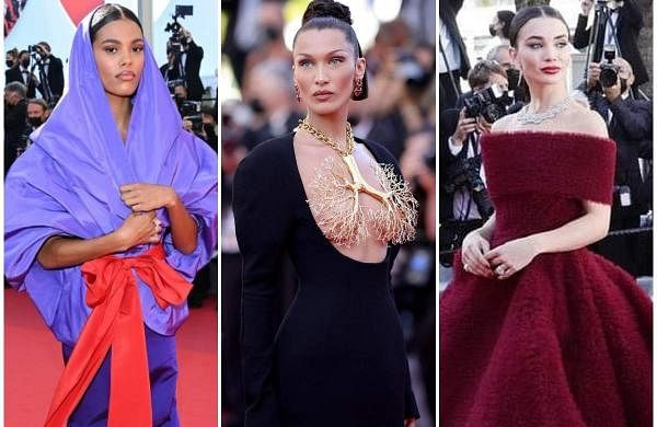 Cannes Film Festival 2021: Tina Kunakey (left), Bella Hadid (centre), and Amy Jackson (right)