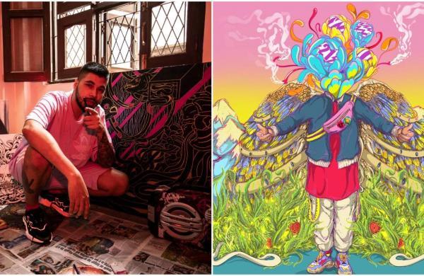 Visual artist Santanu Hazarika; Right: His debut NFT artwork Sanviz