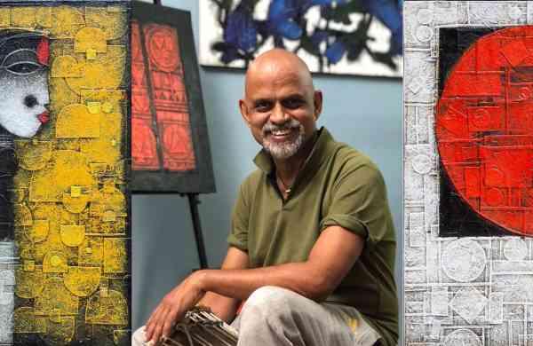 Basuki Dasgupta with his art