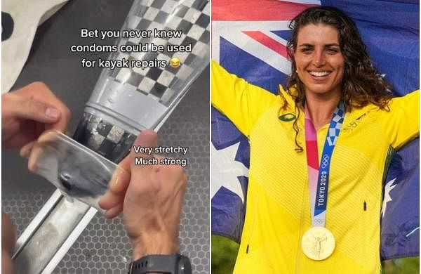Australian canoeist Jessica Fox uses a condom to fix her kayak at the Tokyo Olympics
