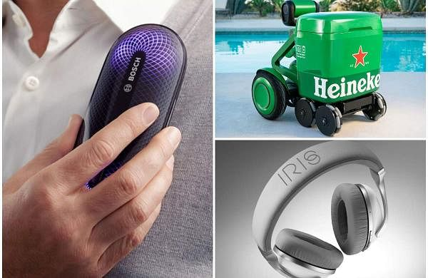 Cool gadgets for this week: Bosch's Freshup - an odour removing device (left), Heineken's AI-powered beer transporter (top right), IRIS Flow headphones (bottom right)