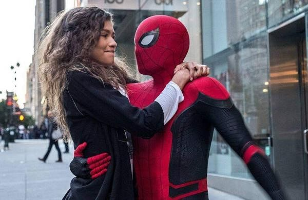 Tom Holland as Peter Parker with Zendaya as Mary Jane in Spider-Man: No Way Home