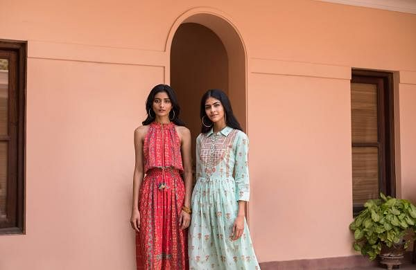 two printed dresses from Aarke's Vintage Soiree collection