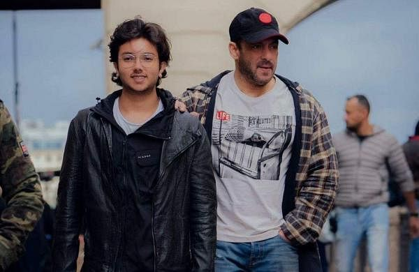 Salman Khan with his nephew Nirvan Khan on the streets of Russia during the actor's shoot for Tiger 3