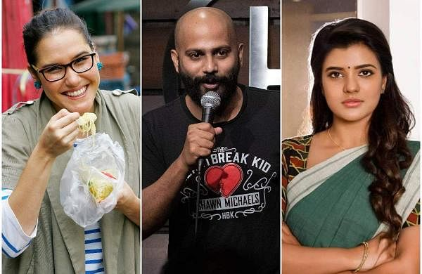 Celebrity chef Marion Grasby (left), stand-up comedian Vivek Muralidharan (centre), and actress Aishwarya Rajesh (right)