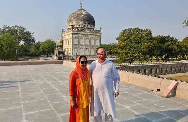 United Kingdom's deputy high commissioner to AP and TS, Andrew Fleming with wife Van at Qutb Shahi Tombs