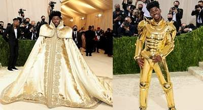 Met Gala 2021: Lil Nas Xflaunted an all-gold three-in-oneVersace look
